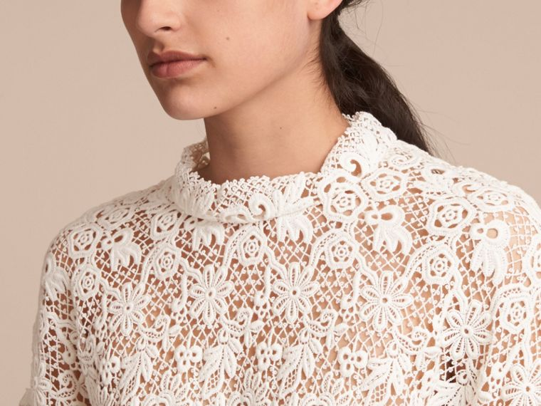 Ribbed Detail Voluminous Lace Top in Antique White - Women | Burberry - cell image 4