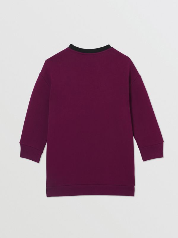 Logo Print Jersey Sweater Dress in Burgundy | Burberry - cell image 3