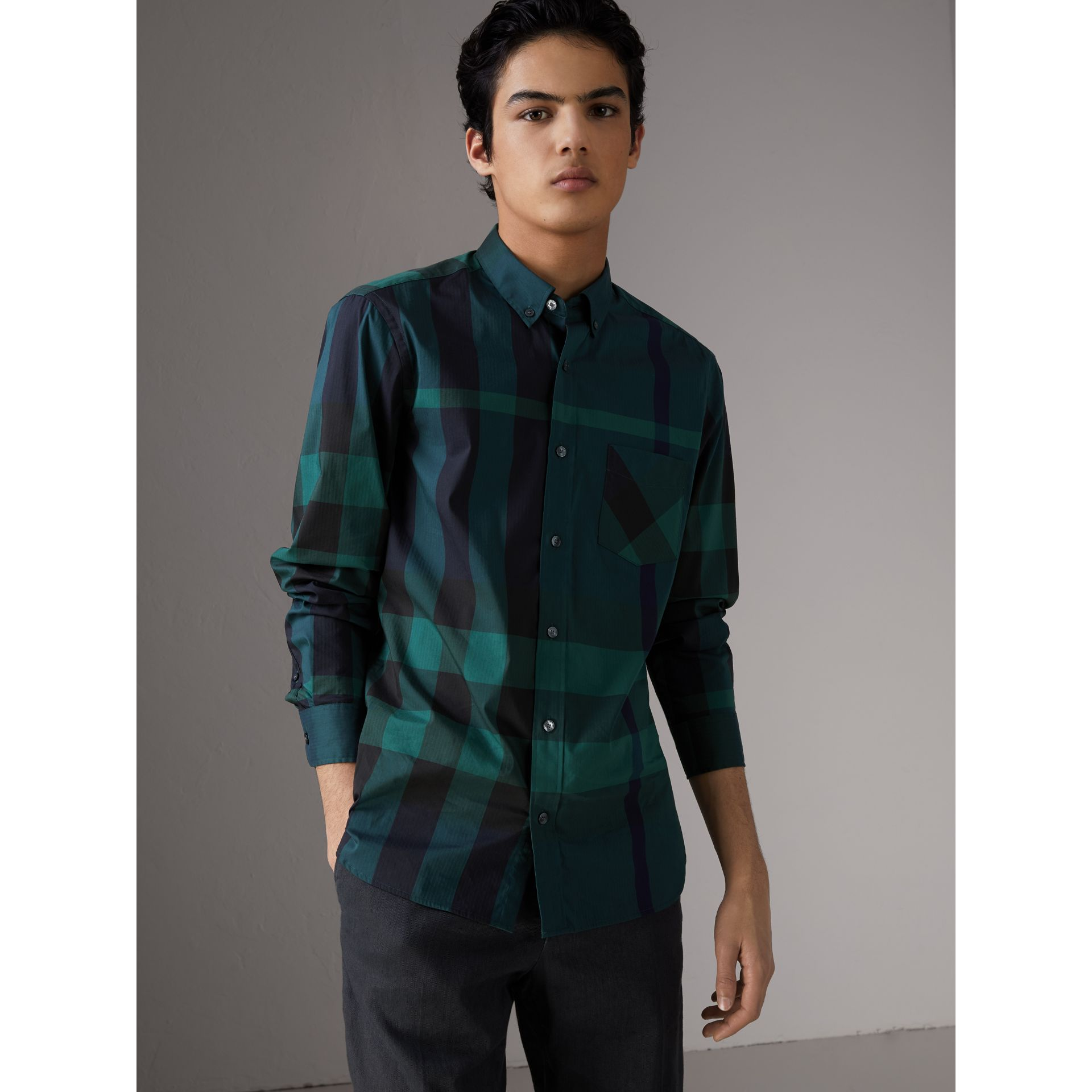 Button-down Collar Check Stretch Cotton Blend Shirt in Forest Green - Men | Burberry - gallery image 1