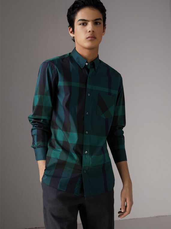 Button-down Collar Check Stretch Cotton Blend Shirt in Forest Green