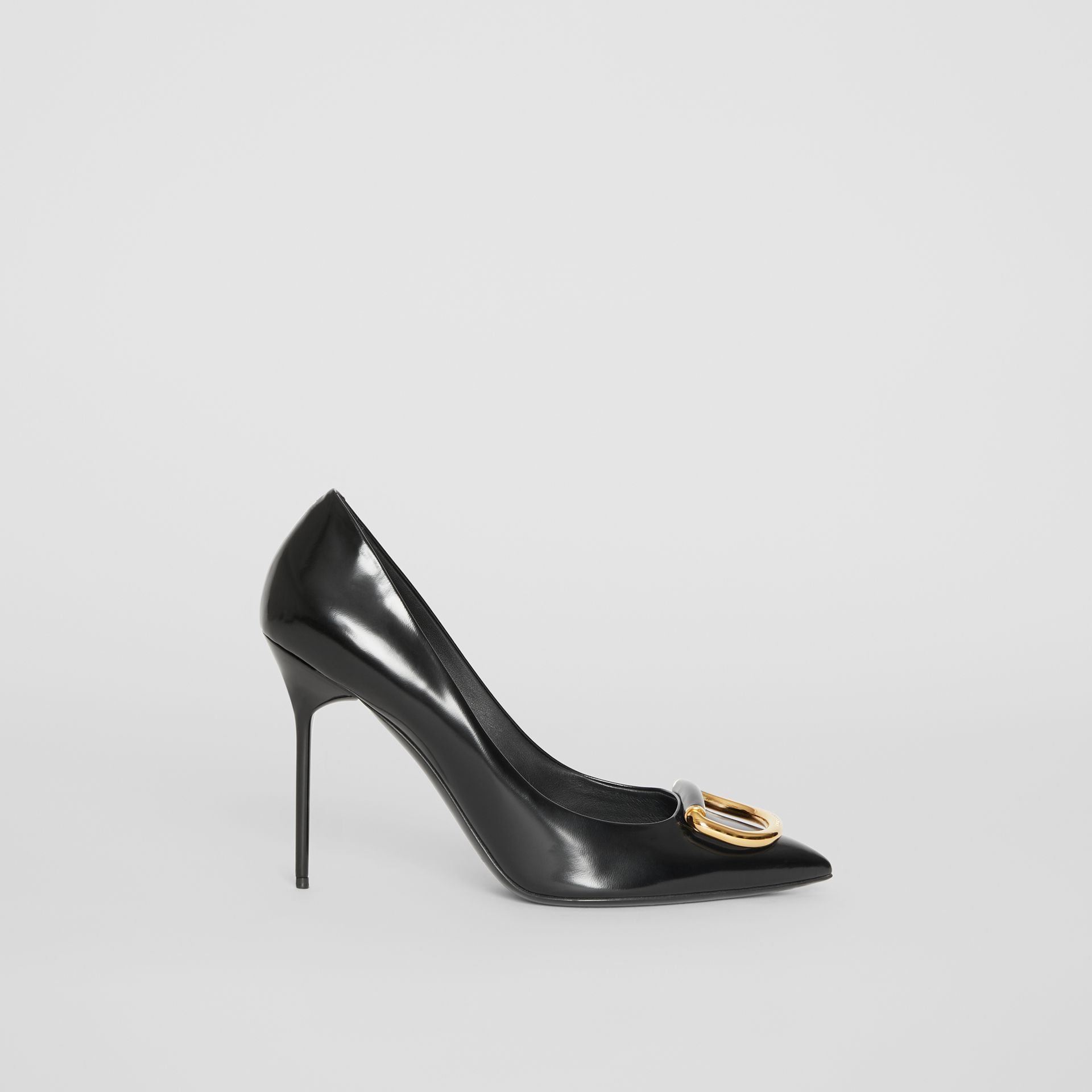 The Leather D-ring Stiletto in Black/gold - Women | Burberry United Kingdom - gallery image 5