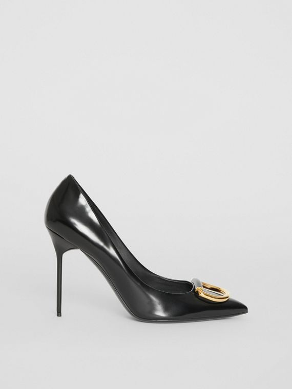 The Leather D-ring Stiletto in Black/gold