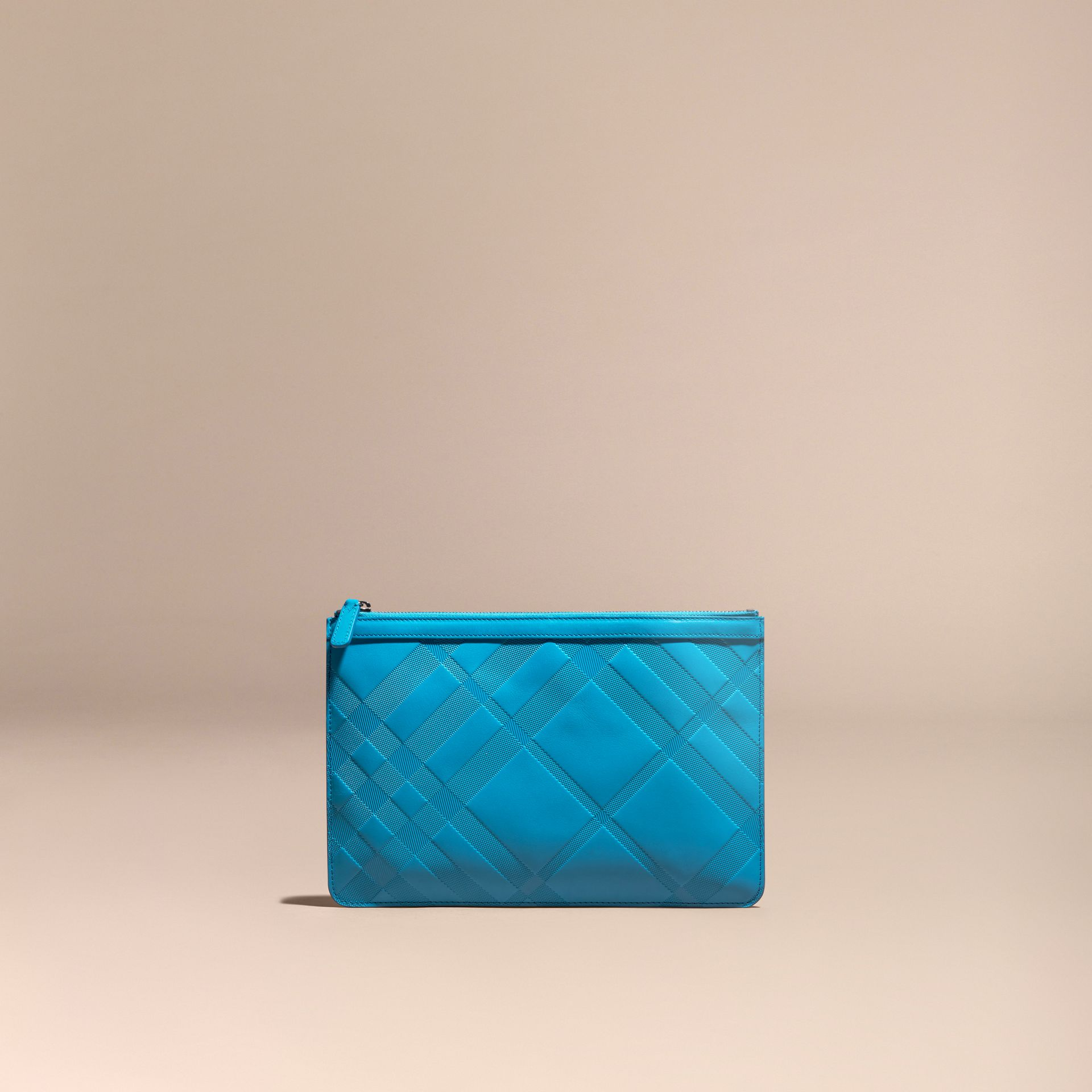 Blue azure Check-embossed Leather Pouch Blue Azure - gallery image 6