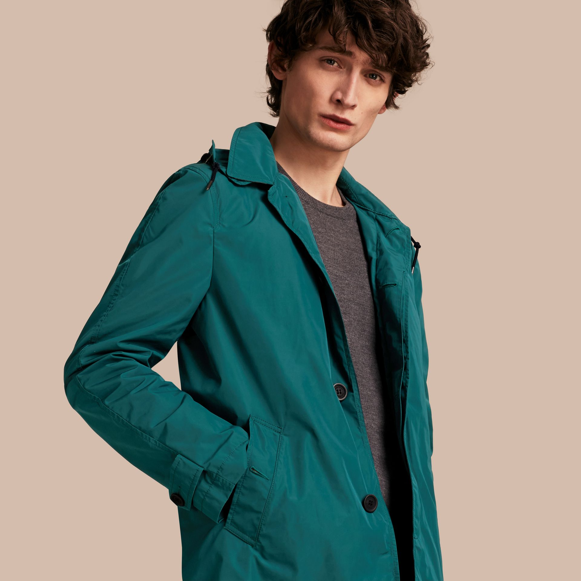 Showerproof Hooded Coat with Removable Warmer Bright Teal - gallery image 1