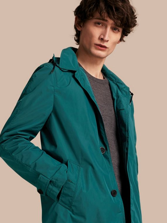 Showerproof Hooded Coat with Removable Warmer Bright Teal