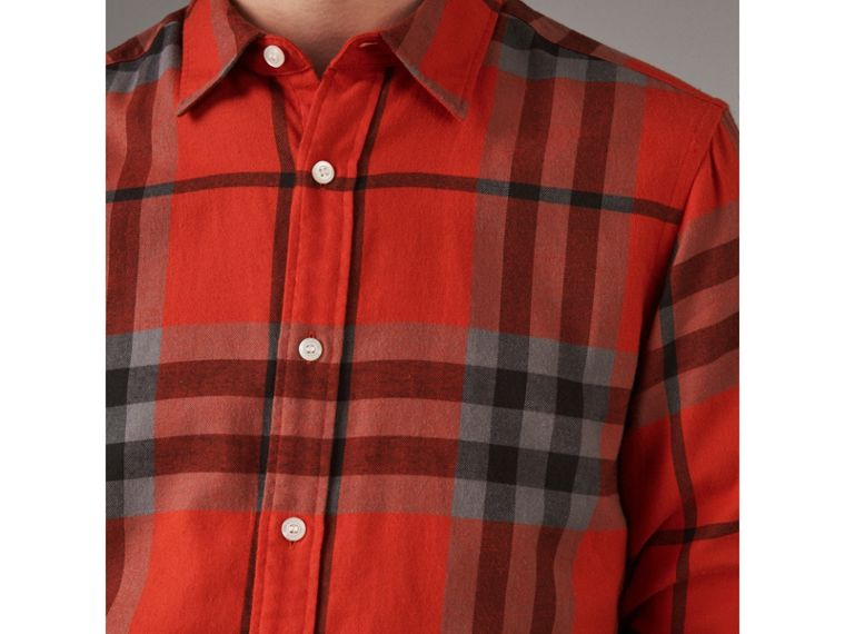 Check Cotton Flannel Shirt in Bright Red - Men | Burberry - cell image 1