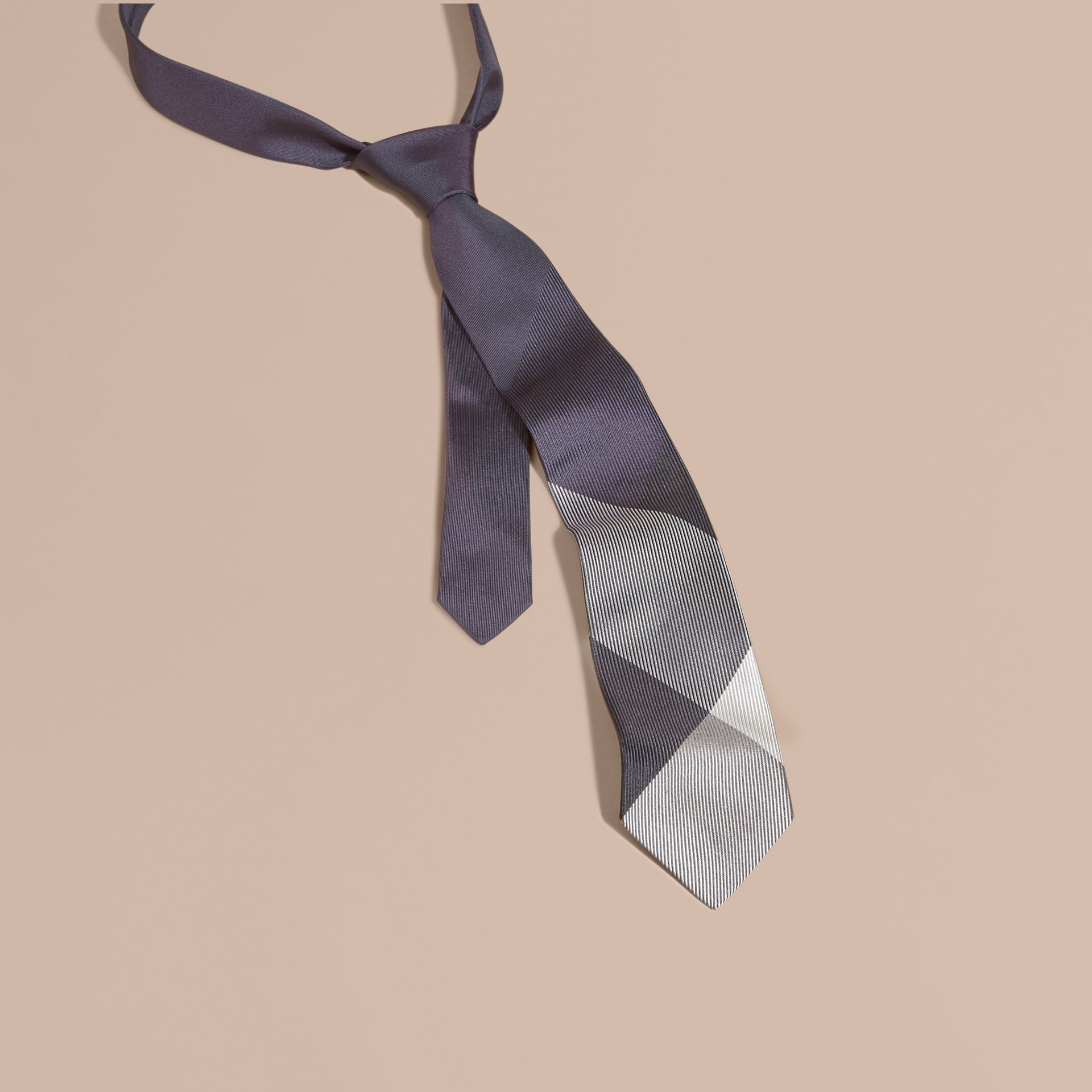 Dark elderberry Modern Cut Check Jacquard Silk Tie Dark Elderberry - gallery image 1