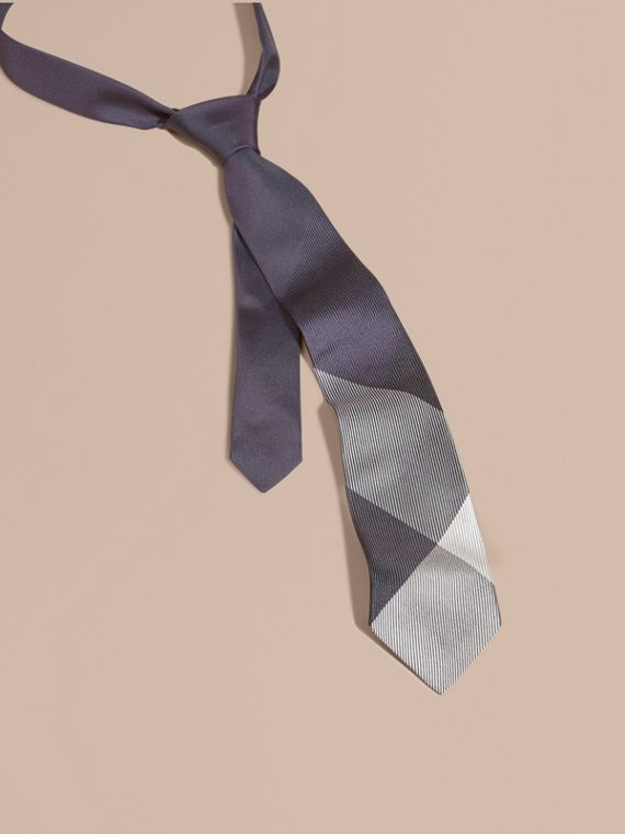 Modern Cut Check Jacquard Silk Tie Dark Elderberry