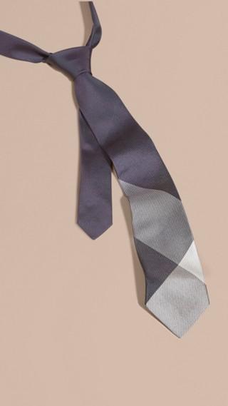 Modern Cut Check Jacquard Silk Tie