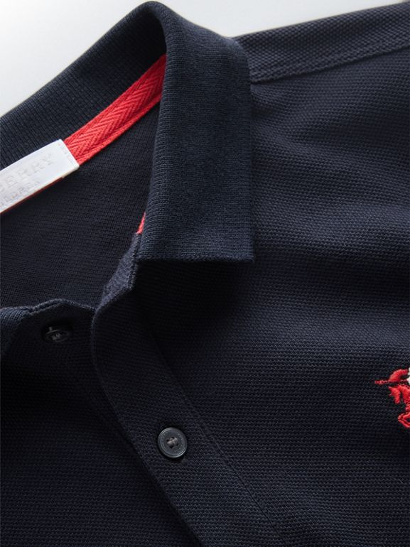 Long-sleeve Cotton Piqué Polo Shirt in Navy | Burberry Singapore - cell image 1