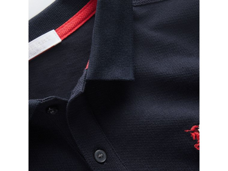 Long-sleeve Cotton Piqué Polo Shirt in Navy - Boy | Burberry United Kingdom - cell image 1