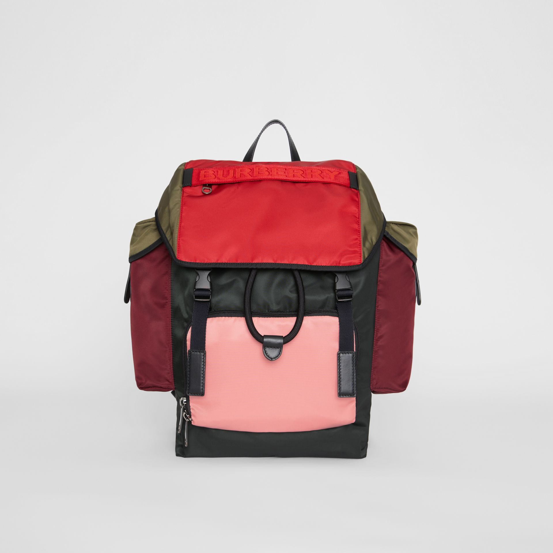 Medium Leather Trim Colour Block Nylon Backpack in Multicolour | Burberry United Kingdom - gallery image 0