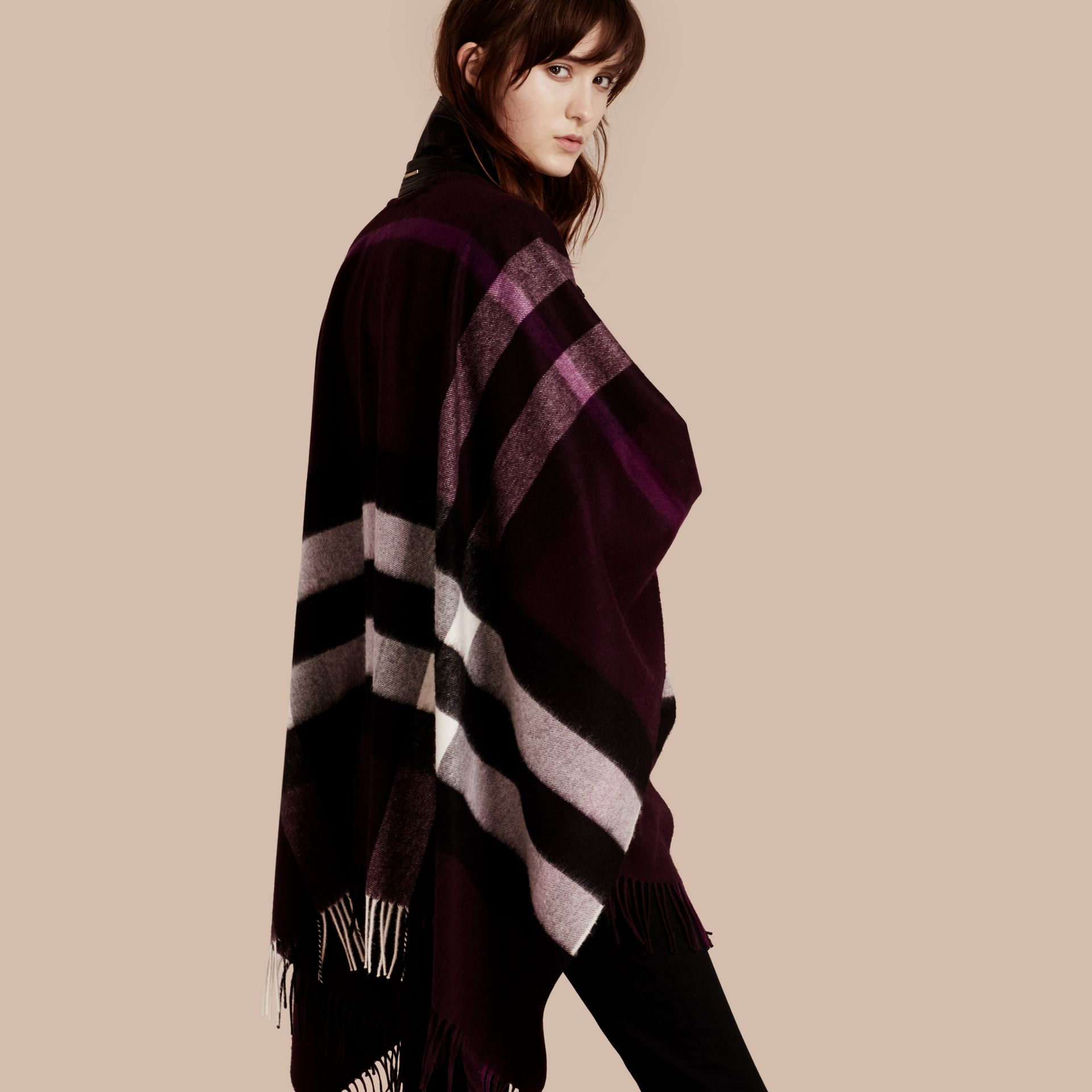 Check Cashmere and Wool Poncho Aubergine - gallery image 1