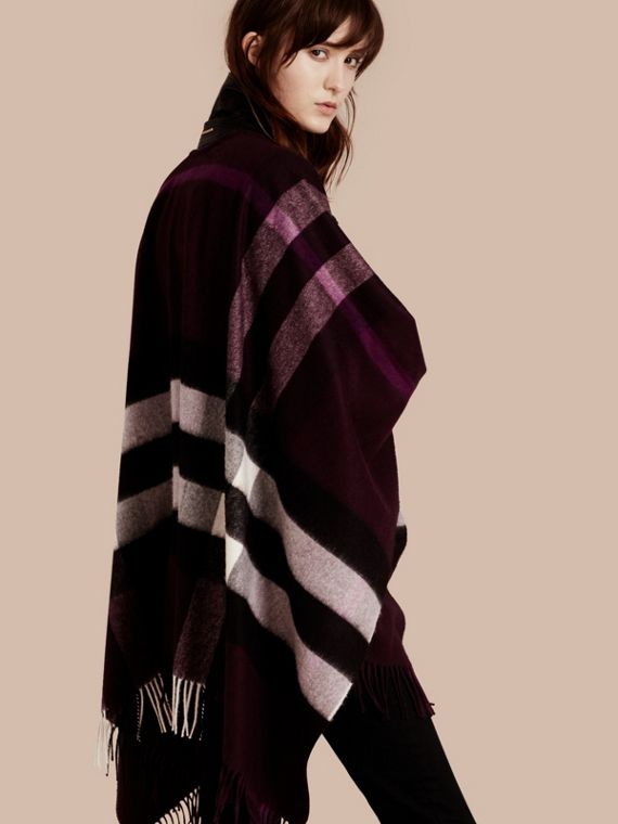 Check Cashmere and Wool Poncho in Aubergine