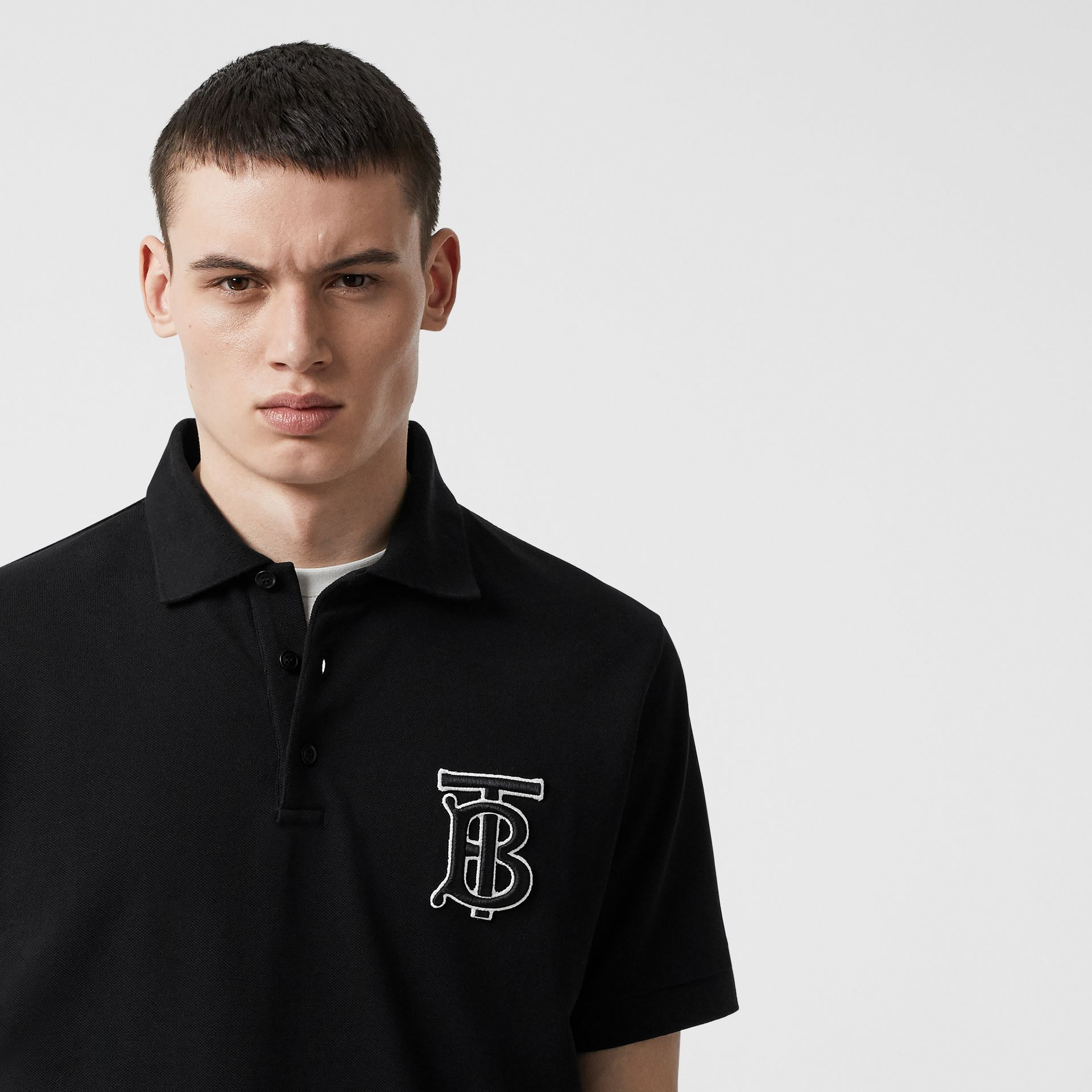 Monogram Motif Cotton Piqué Oversized Polo Shirt in Black | Burberry - gallery image 1