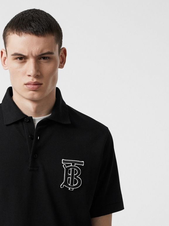 Monogram Motif Cotton Piqué Oversized Polo Shirt in Black | Burberry - cell image 1