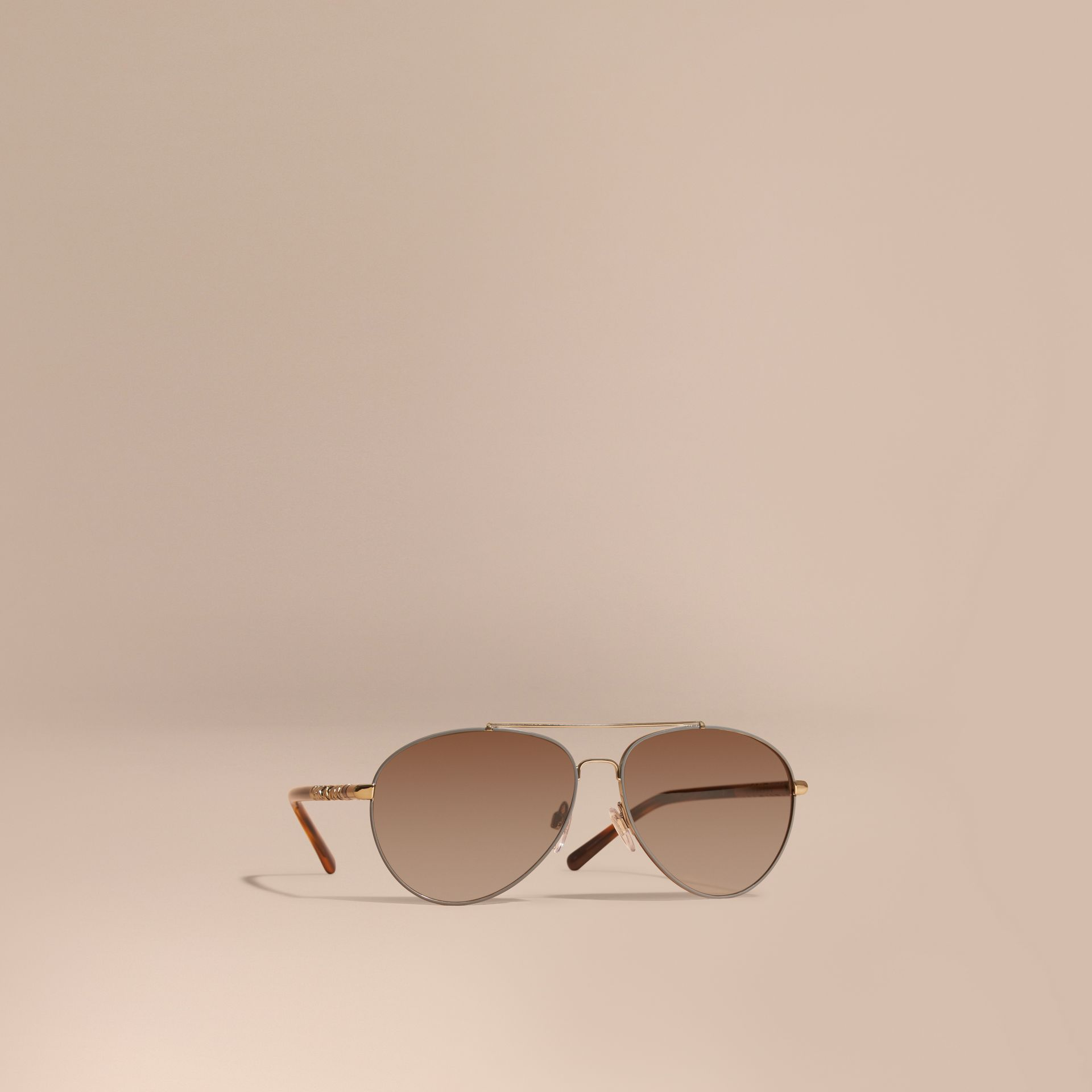 Check Detail Pilot Sunglasses in Pale Gold - Women | Burberry - gallery image 0