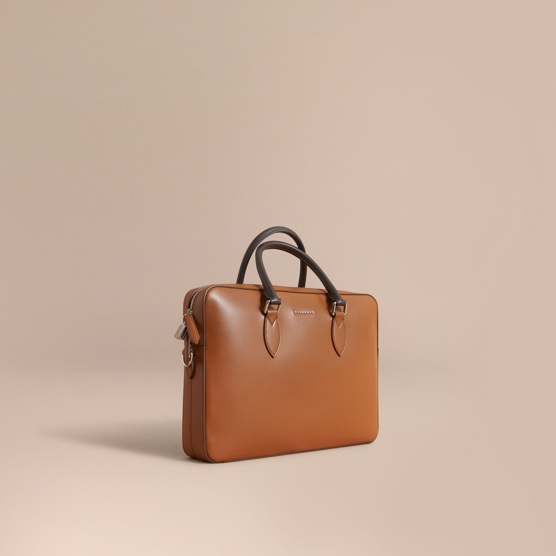 London Leather Briefcase in Tan/chocolate - Men | Burberry - gallery image 1