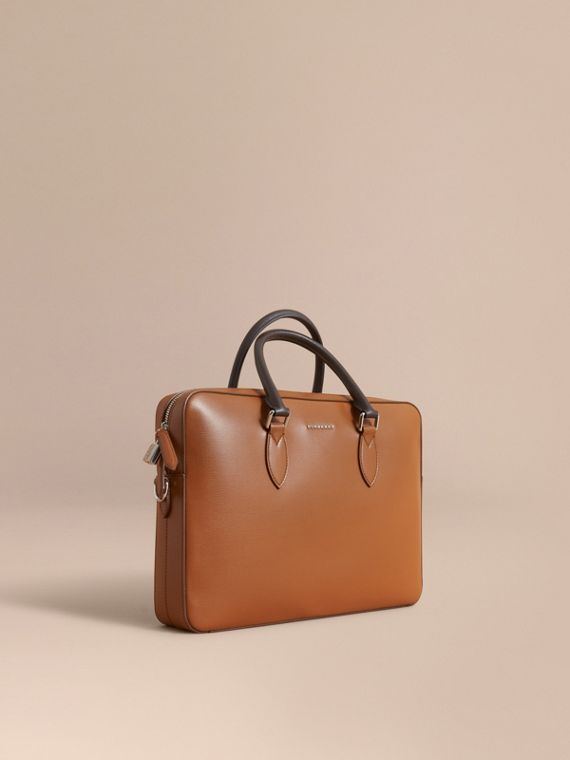 London Leather Briefcase in Tan/chocolate - Men | Burberry Australia