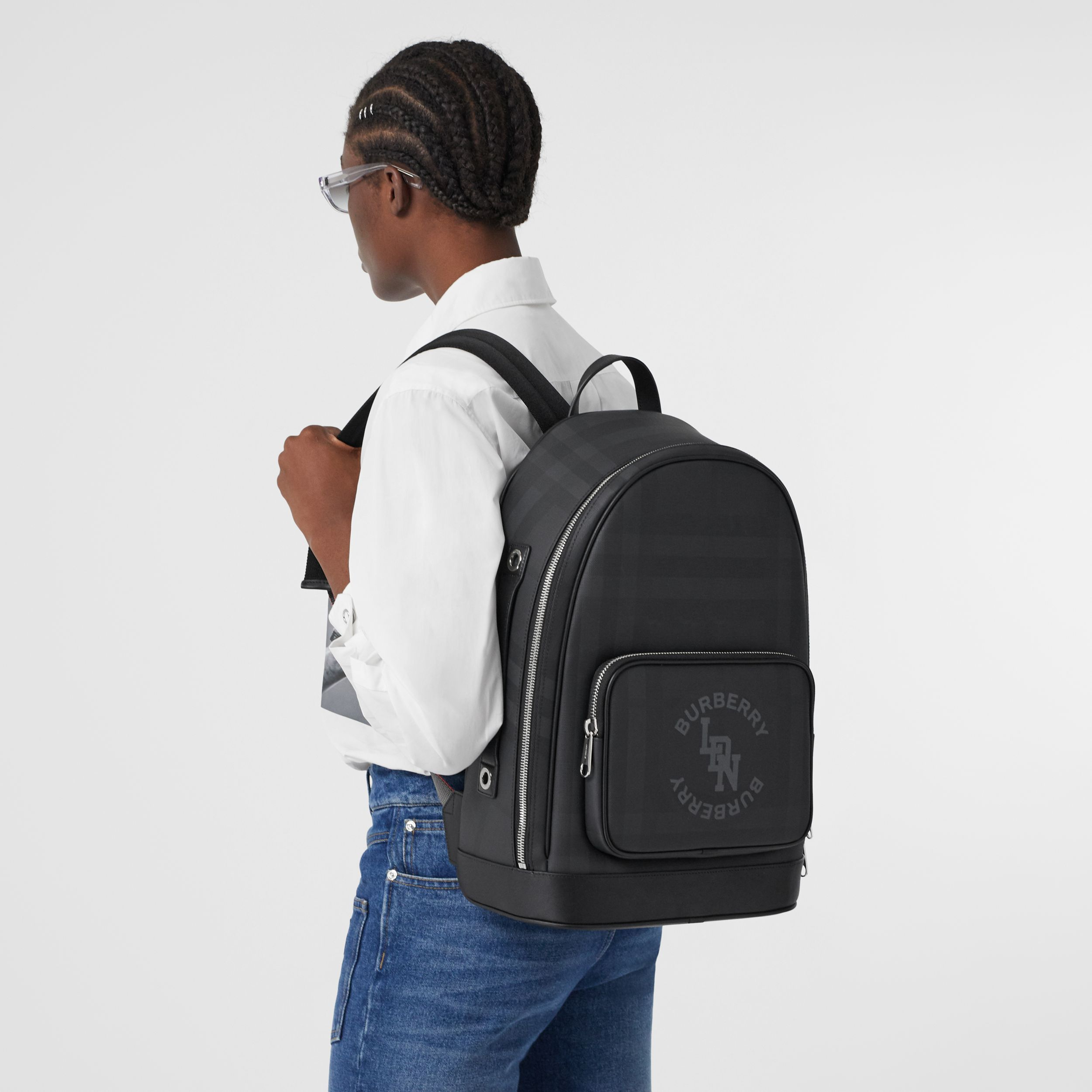 Logo Graphic London Check and Leather Backpack in Dark Charcoal | Burberry - 3