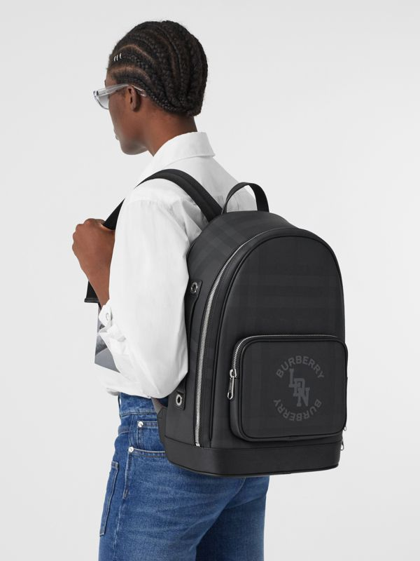 Logo Graphic London Check and Leather Backpack in Dark Charcoal | Burberry Hong Kong S.A.R - cell image 2
