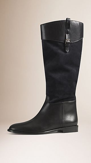 Leather and Embossed Check Suede Riding Boots