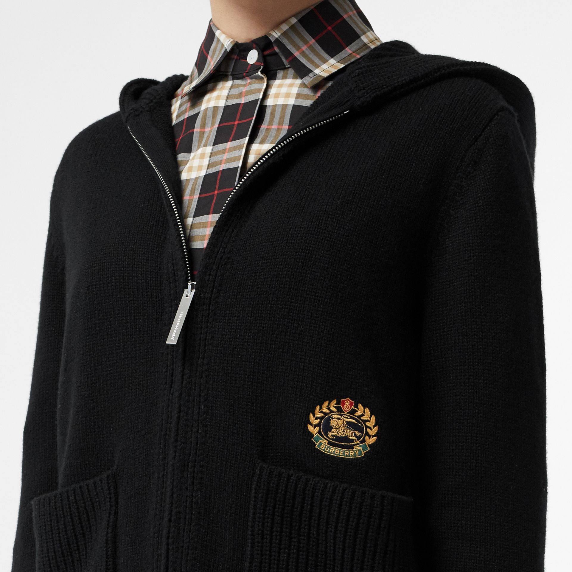 Embroidered Crest Cashmere Hooded Top in Black - Women | Burberry Australia - gallery image 1