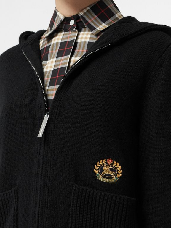 Embroidered Crest Cashmere Hooded Top in Black - Women | Burberry Australia - cell image 1
