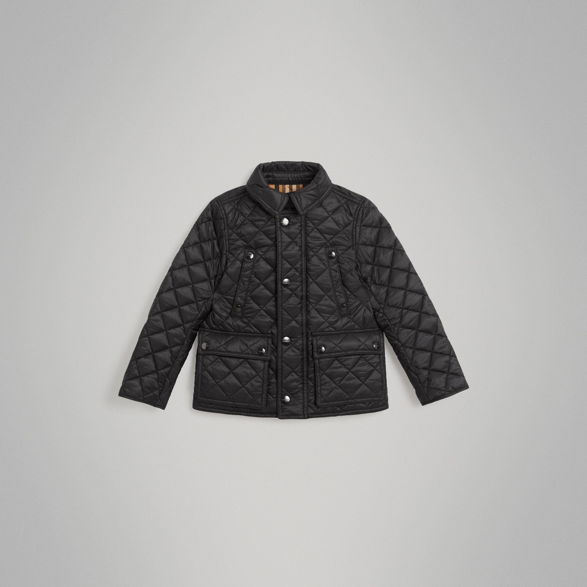 Detachable Hood Diamond Quilted Jacket in Black - Boy | Burberry - gallery image 0