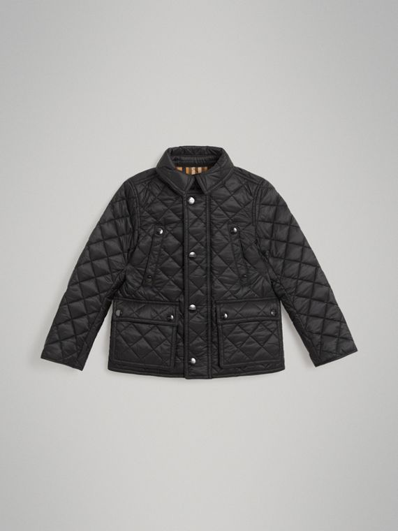 Detachable Hood Diamond Quilted Jacket in Black