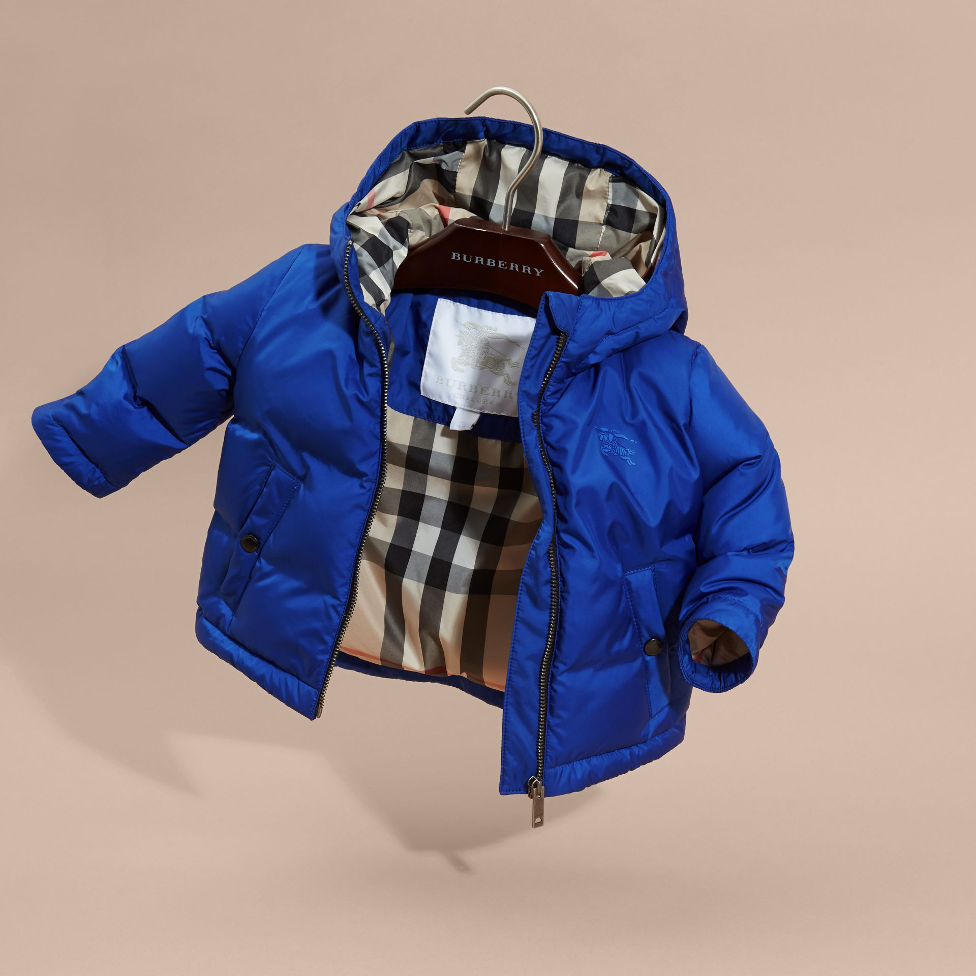 Brilliant blue Down-filled Hooded Puffer Jacket Brilliant Blue - gallery image 3