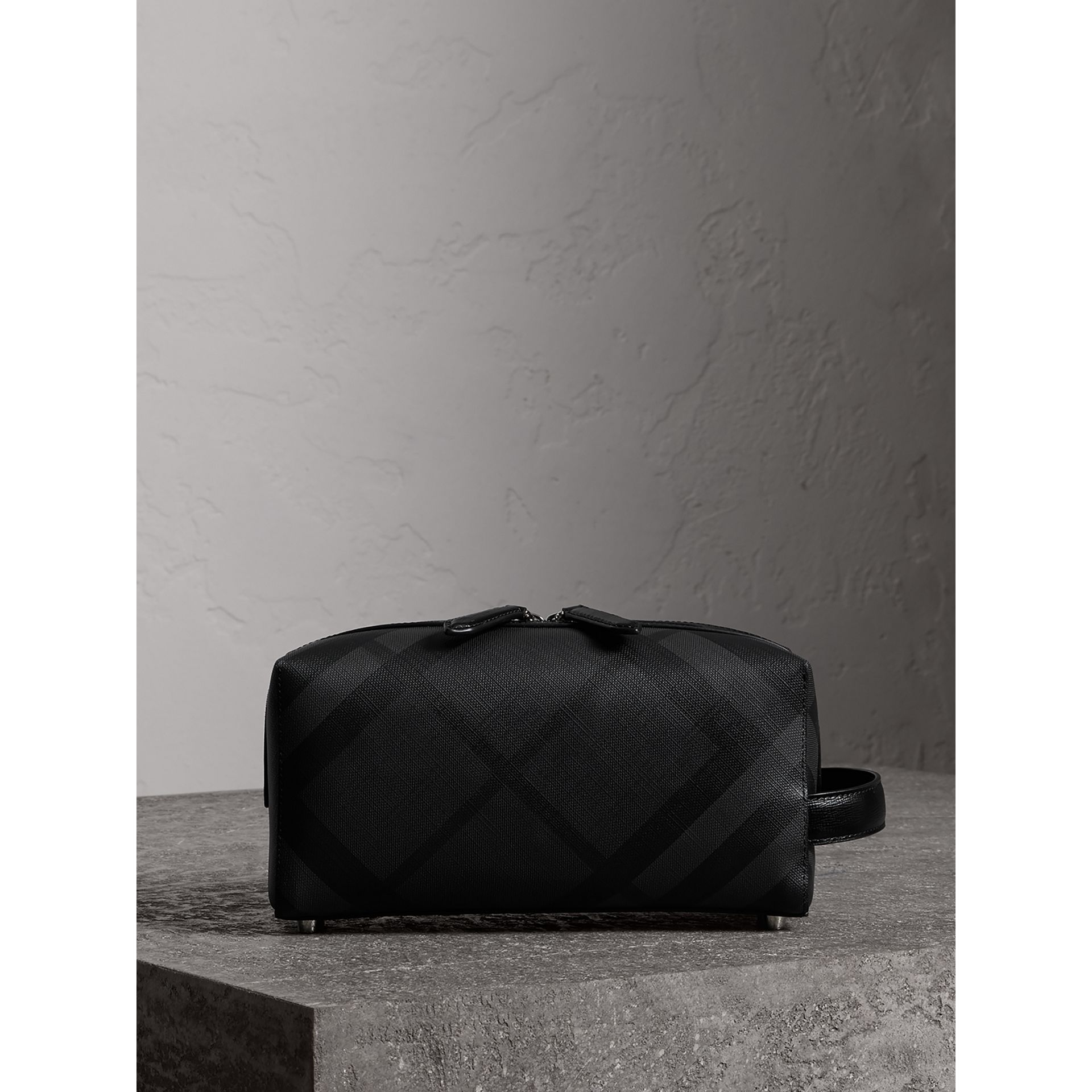 London Check and Leather Pouch in Charcoal/black | Burberry Canada - gallery image 6
