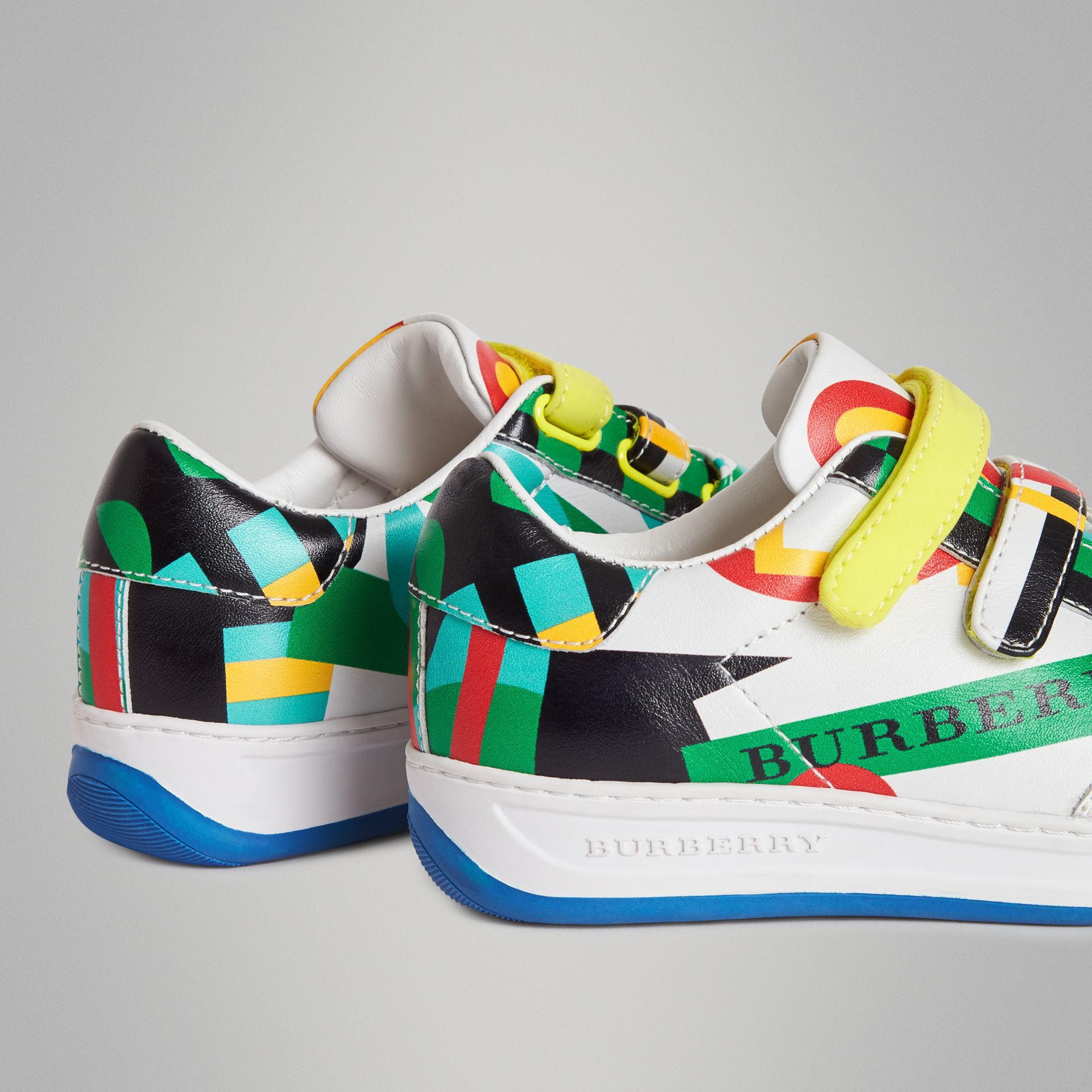 Graphic Print Leather Sneakers in Multicolour | Burberry Canada - gallery image 2