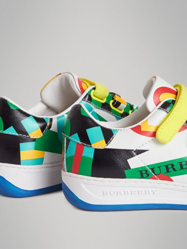 Graphic Print Leather Sneakers in Multicolour | Burberry Australia - cell image 2