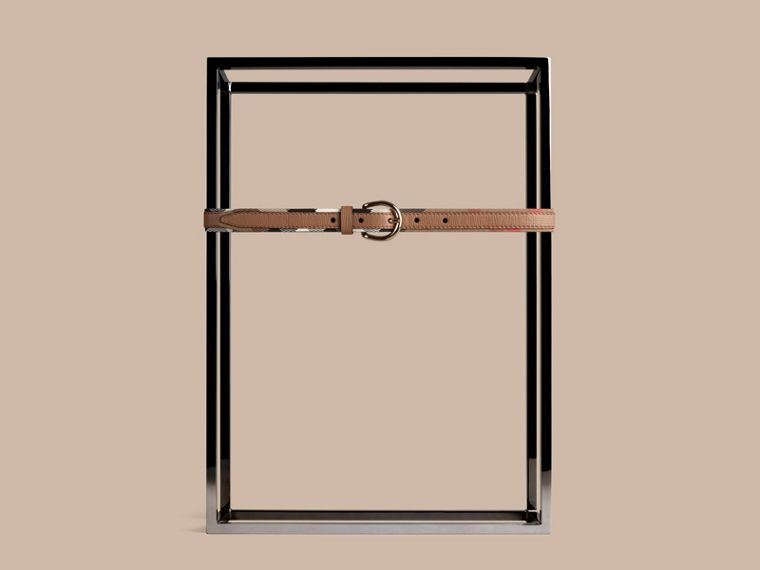 Dark sand House Check and Bridle Leather Belt - cell image 1