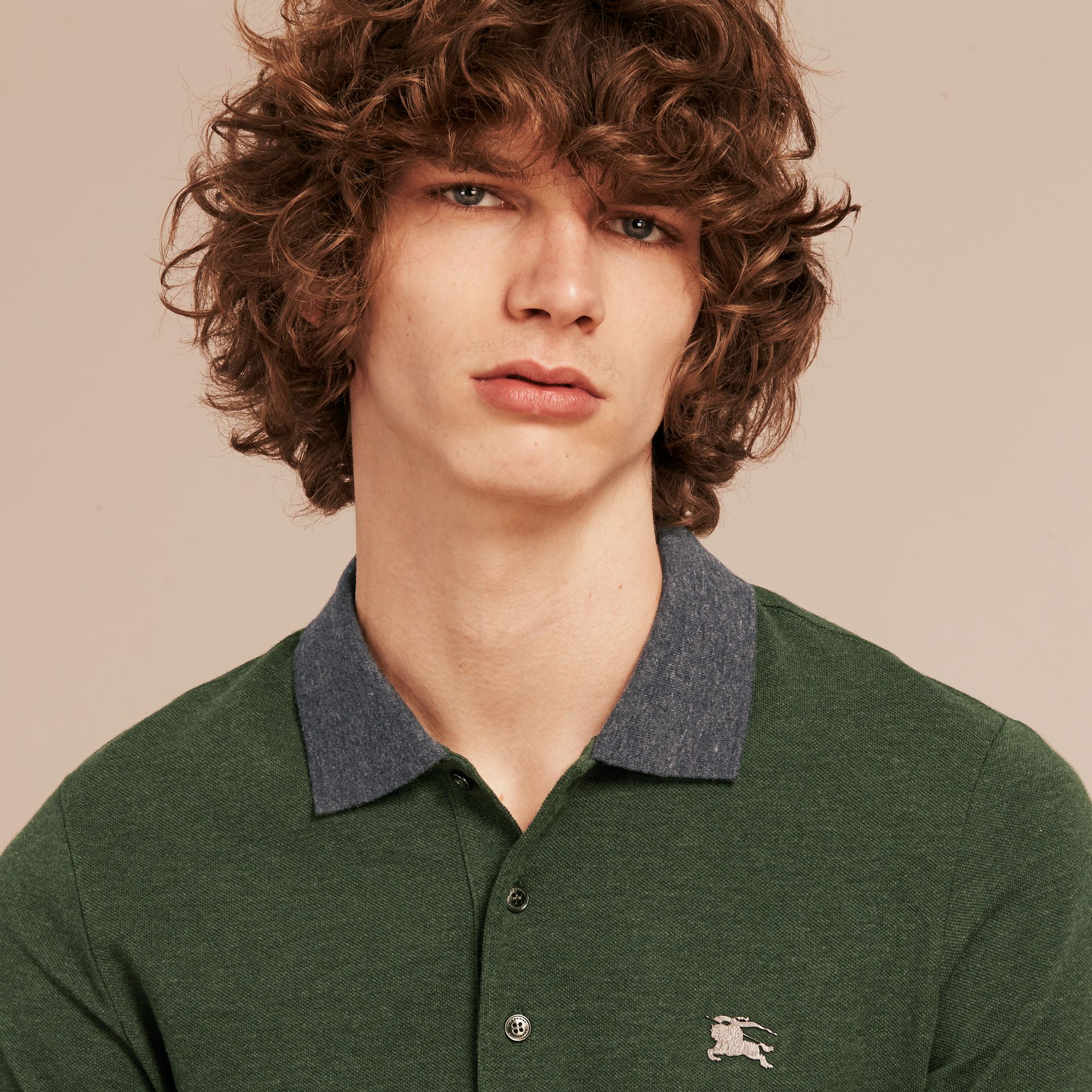 Racing green melange Contrast Colour Detail Cotton Piqué Polo Shirt Racing Green Melange - gallery image 5
