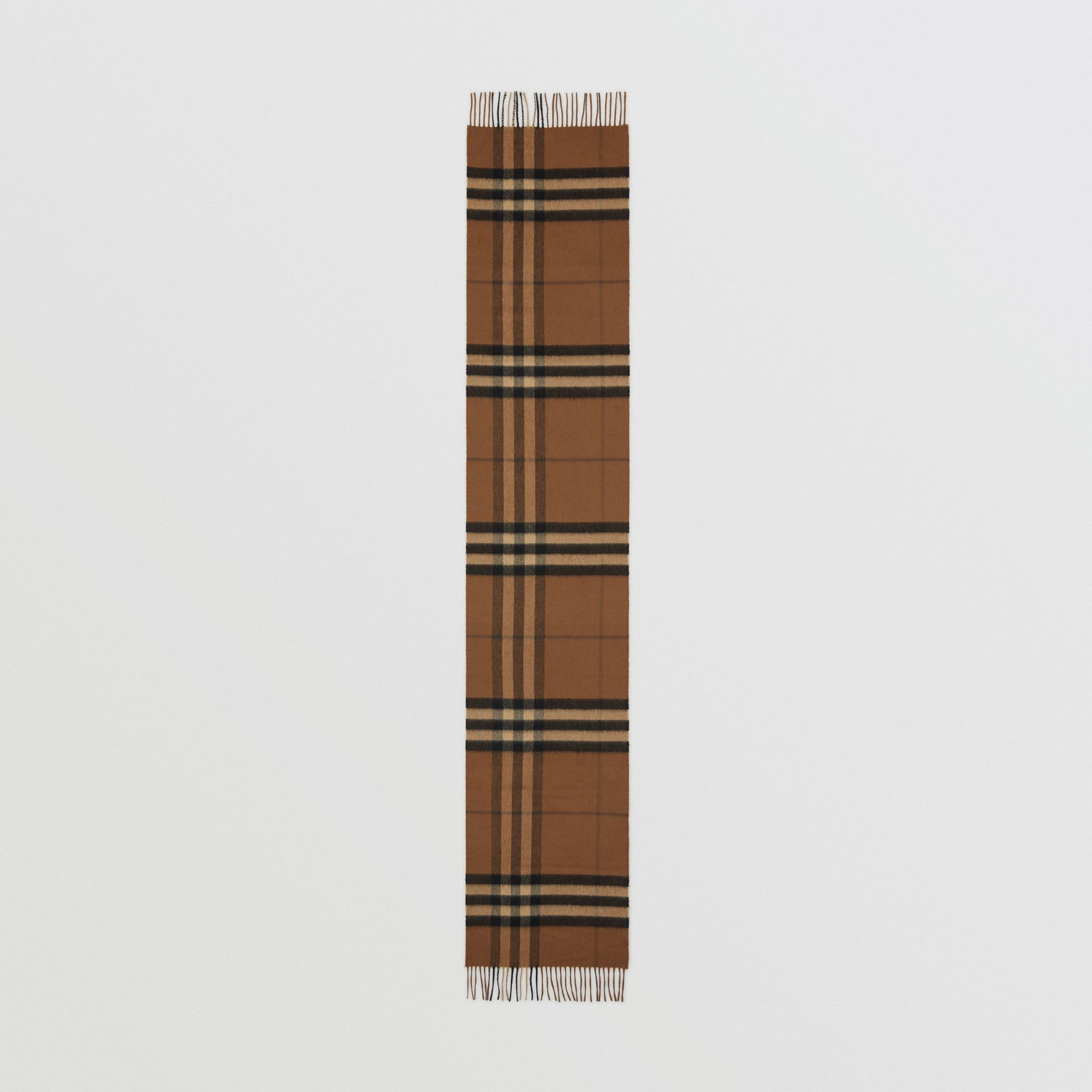The Classic Check Cashmere Scarf in Bridle Brown | Burberry United States - gallery image 3