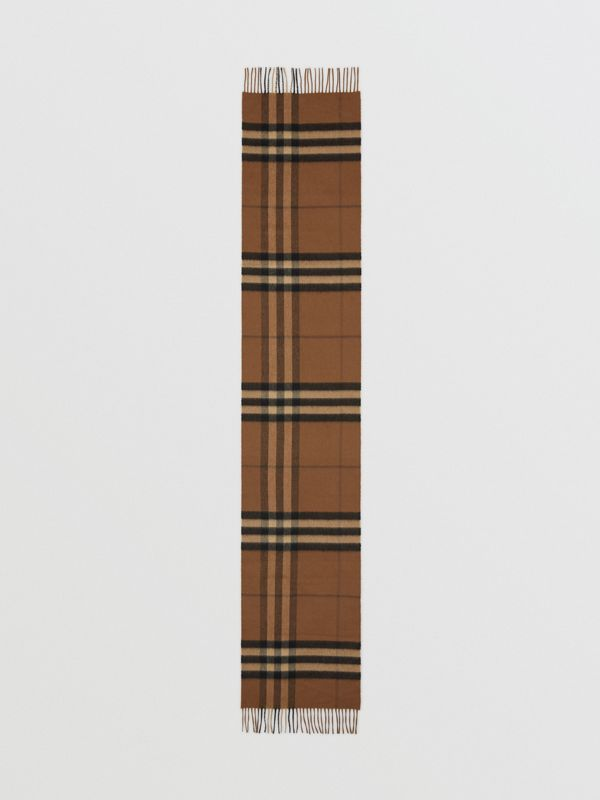 The Classic Check Cashmere Scarf in Bridle Brown | Burberry United States - cell image 3