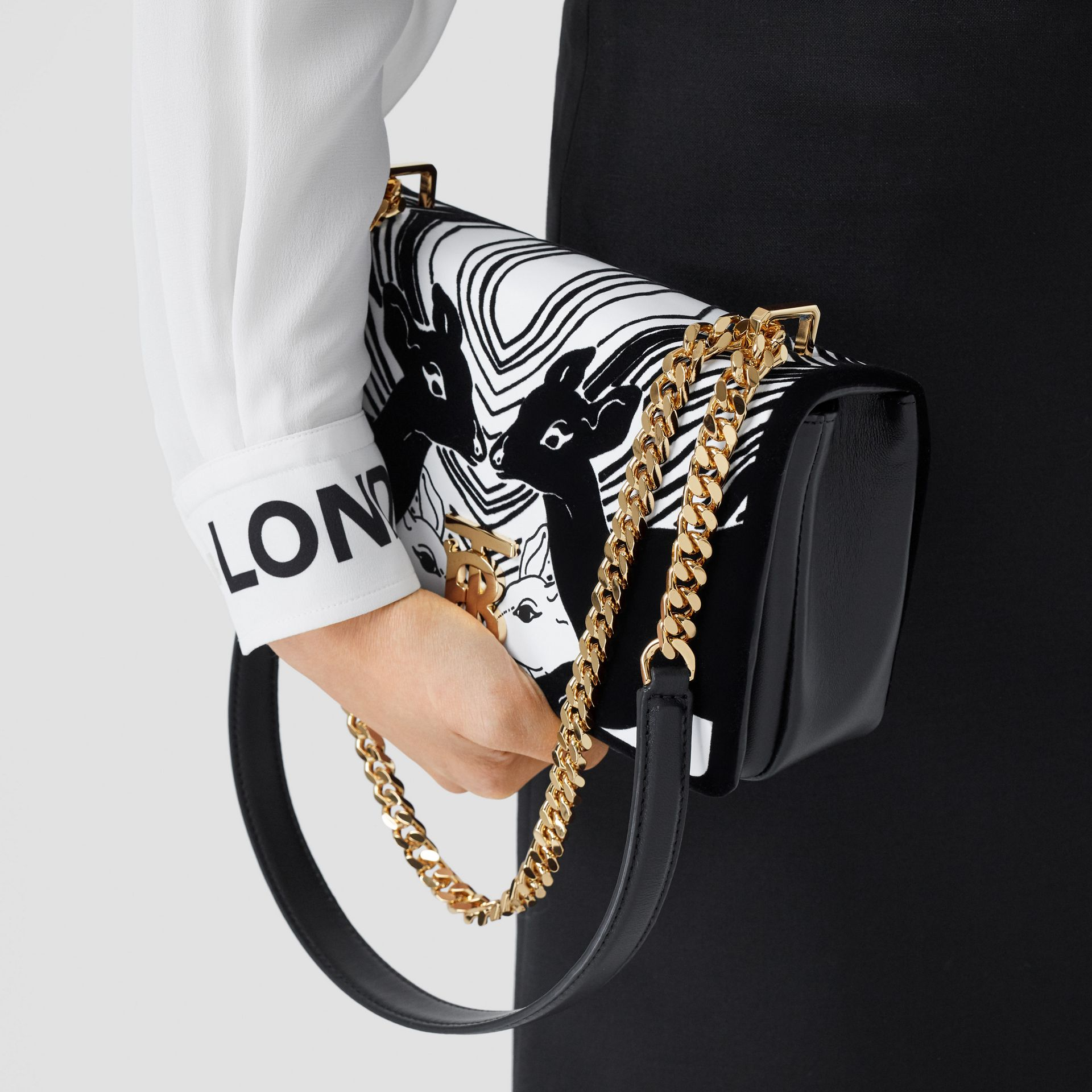 Small Deer Flock Leather Lola Bag in Black/white - Women | Burberry - gallery image 8