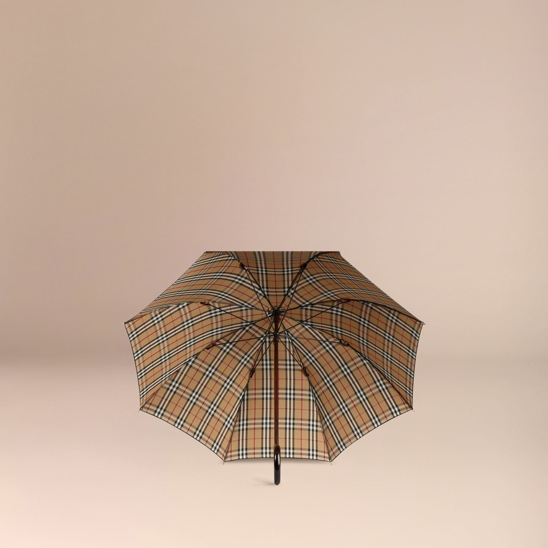 Heritage Check-lined Walking Umbrella in Black/honey | Burberry Singapore - gallery image 3