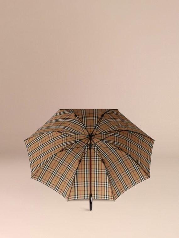 Heritage Check-lined Walking Umbrella in Black/honey | Burberry - cell image 2