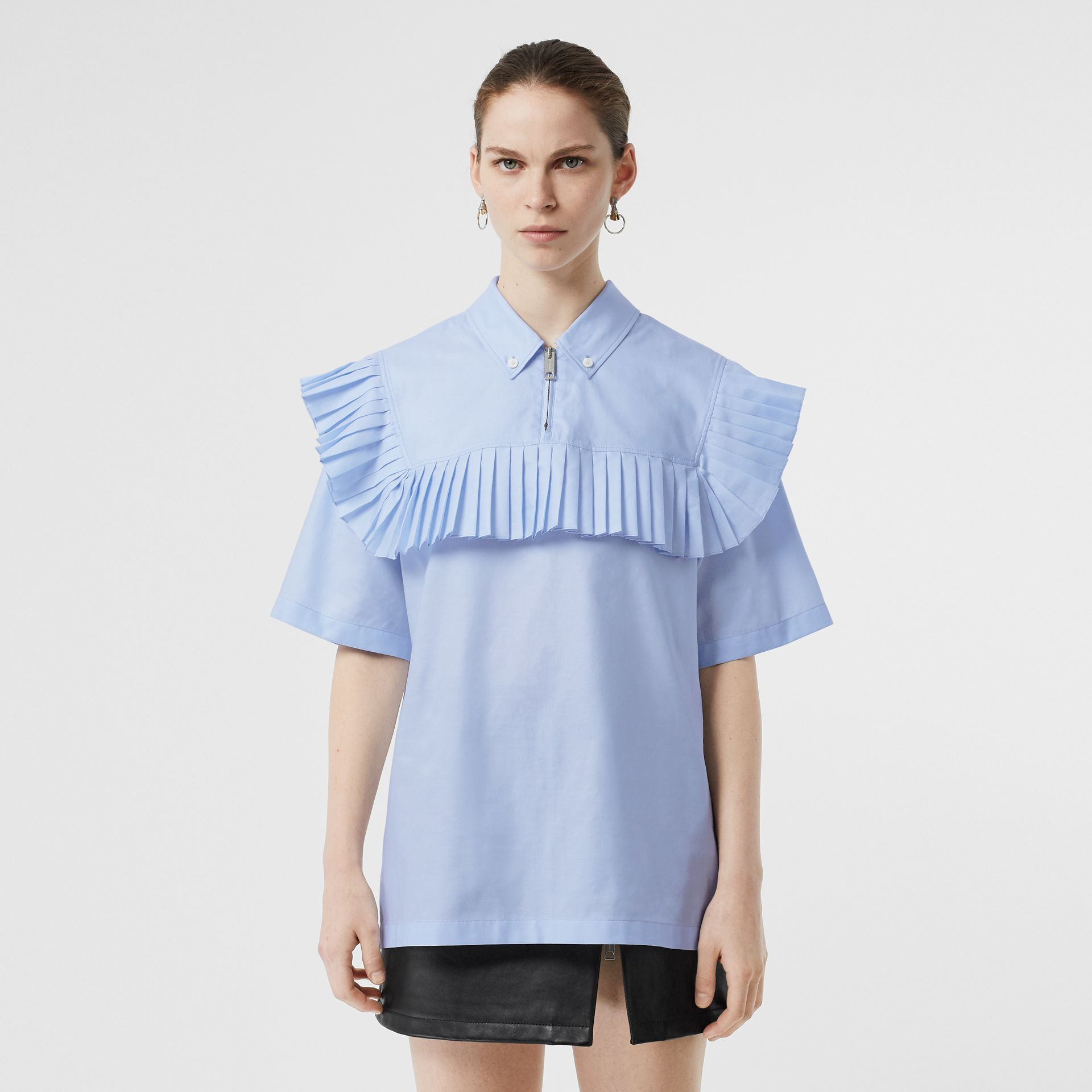 Short-sleeve Pleat Detail Cotton Shirt in Baby Blue - Women | Burberry Canada - gallery image 0