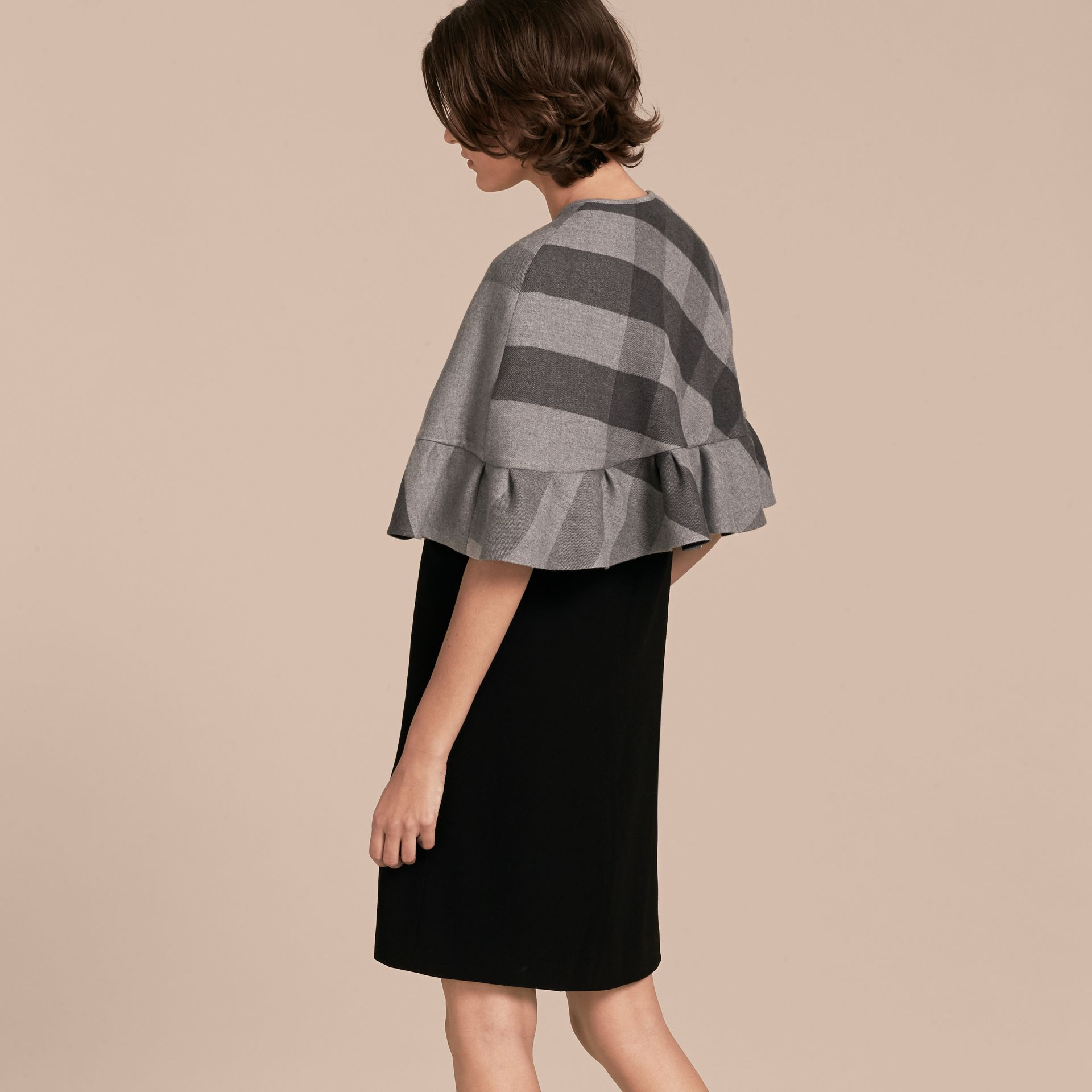 Charcoal Ruffled Hem Check Wool Cape Charcoal - gallery image 3