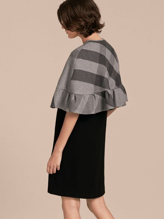 Charcoal Ruffled Hem Check Wool Cape Charcoal - cell image 2