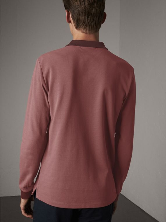 Long-sleeve Cotton Piqué Polo Shirt in Rosewood - Men | Burberry United Kingdom - cell image 2