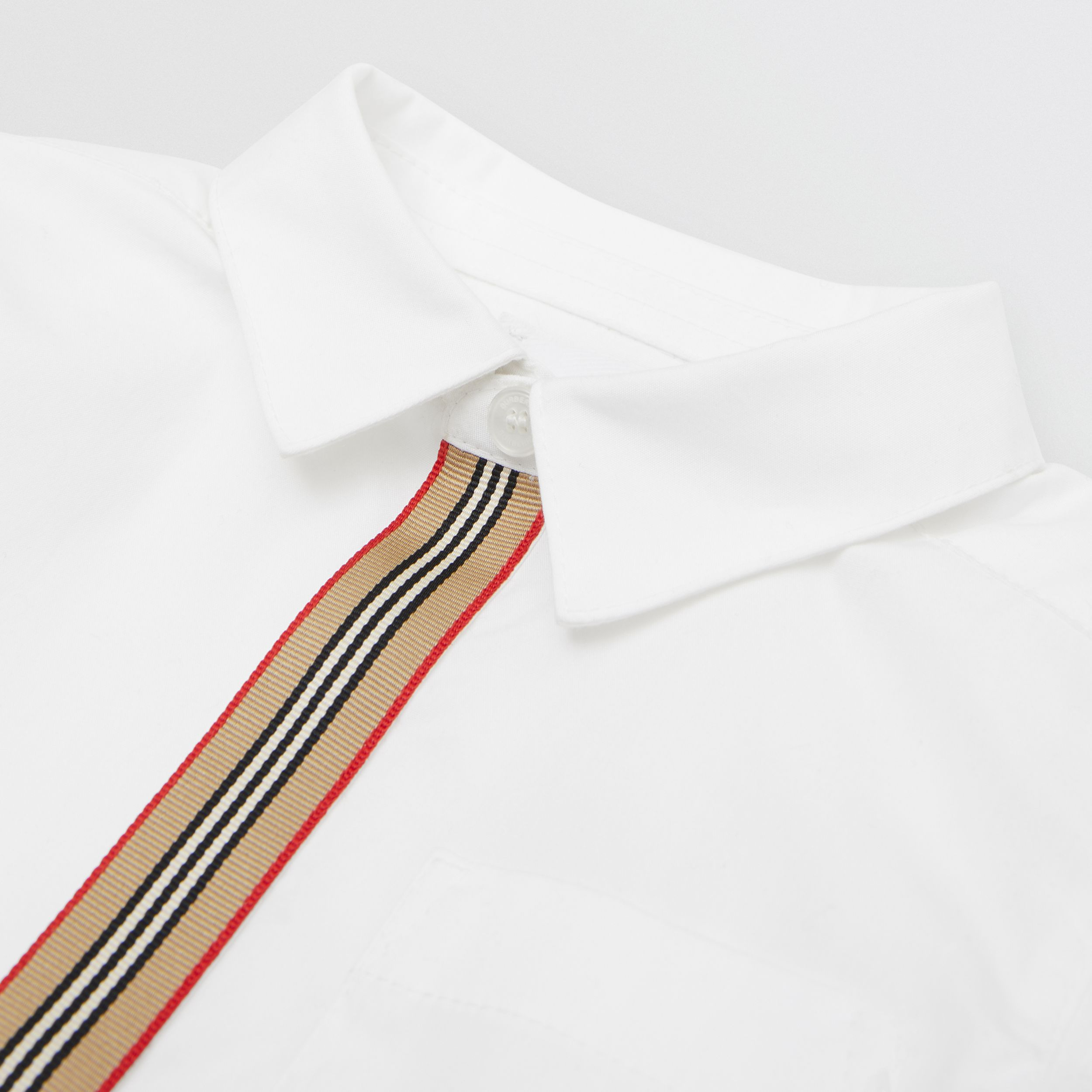 Icon Stripe Trim Stretch Cotton Shirt in White - Children | Burberry - 2