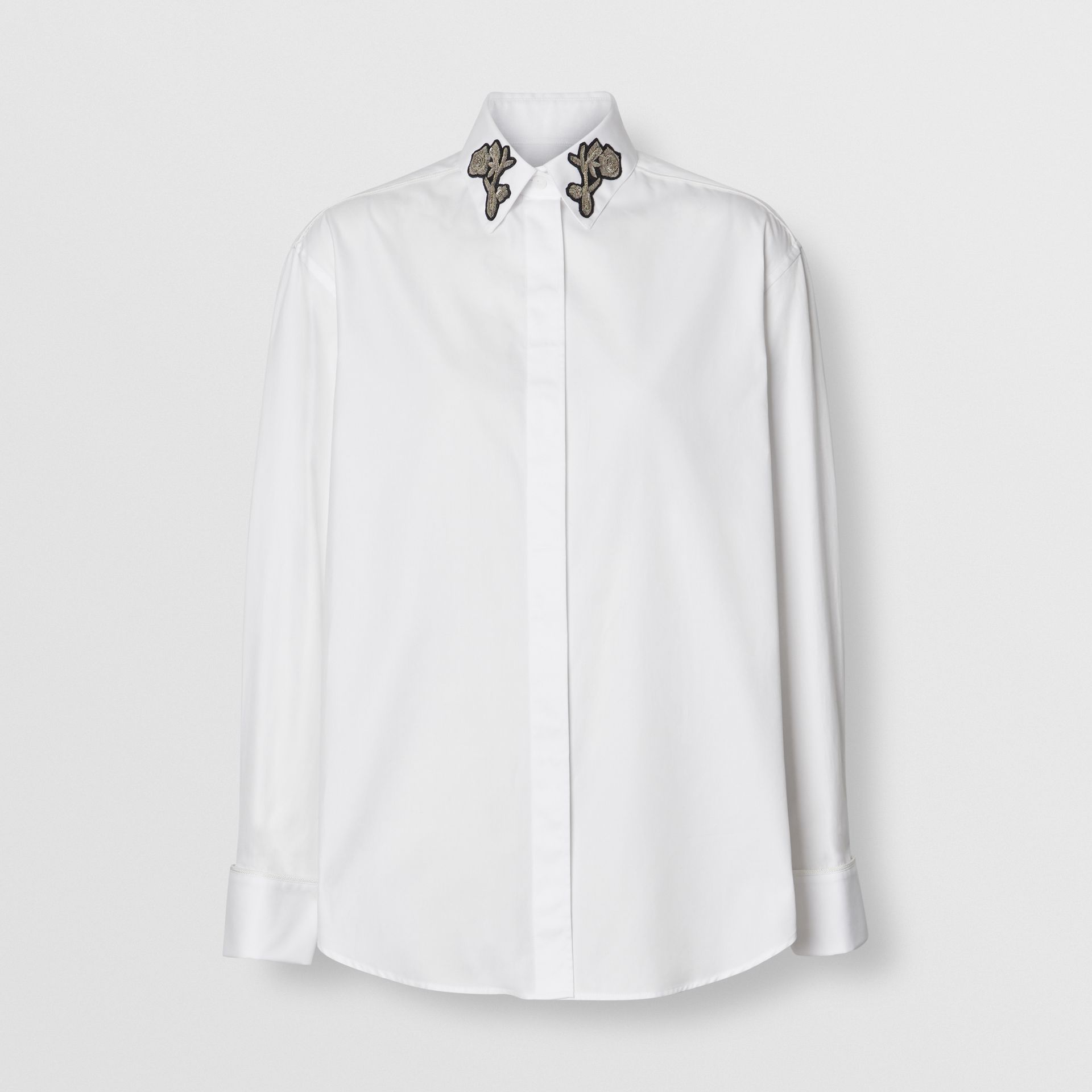 Bullion Floral Cotton Twill Shirt in White - Women | Burberry United States - gallery image 3
