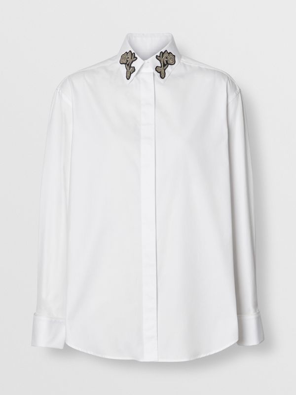 Bullion Floral Cotton Twill Shirt in White - Women | Burberry United States - cell image 3