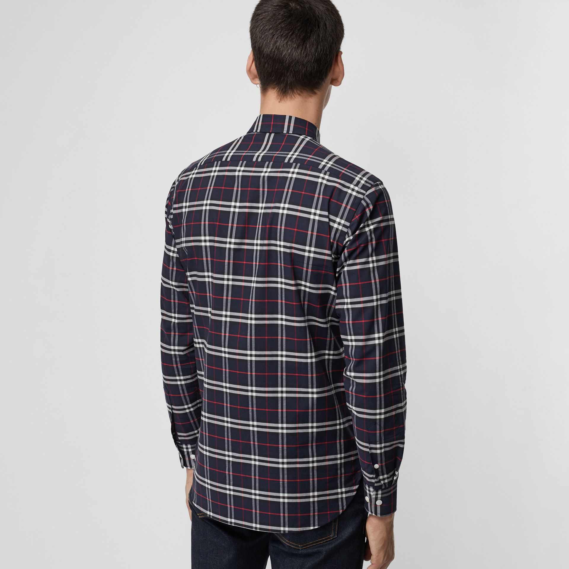 Check Stretch Cotton Shirt in Navy - Men | Burberry Australia - gallery image 2