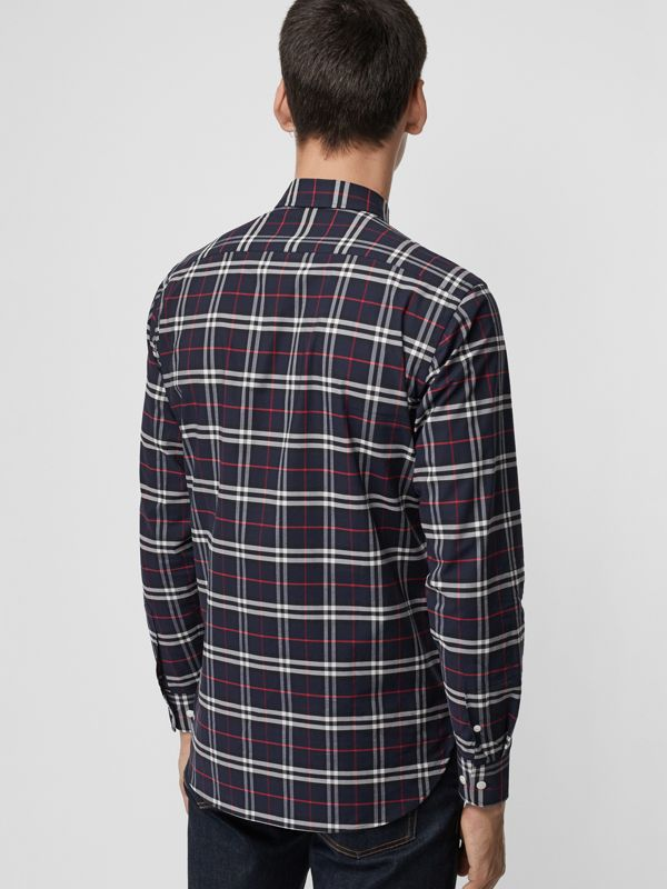 Check Stretch Cotton Shirt in Navy - Men | Burberry United States - cell image 2